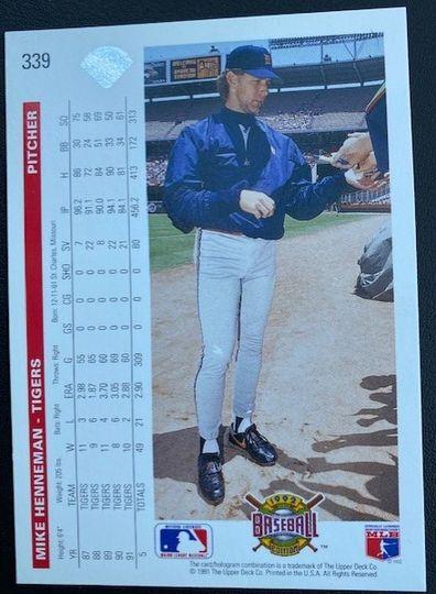 1992 Upper Deck Tigers Mike Henneman 339 Item Image