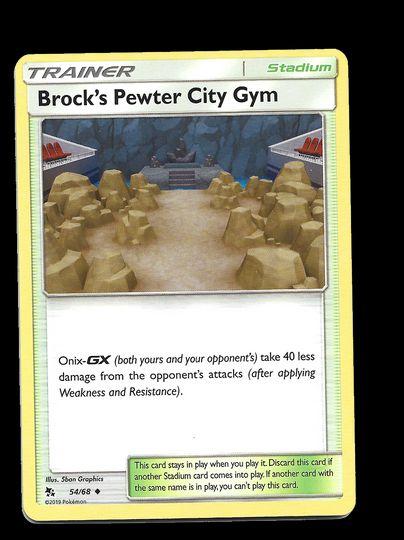 54/68 Brock's Pewter City Gym Hidden Fates Uncommon Mint Item Image